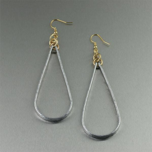 Hammered Aluminum Tear Drop Earrings - Large - johnsbrana