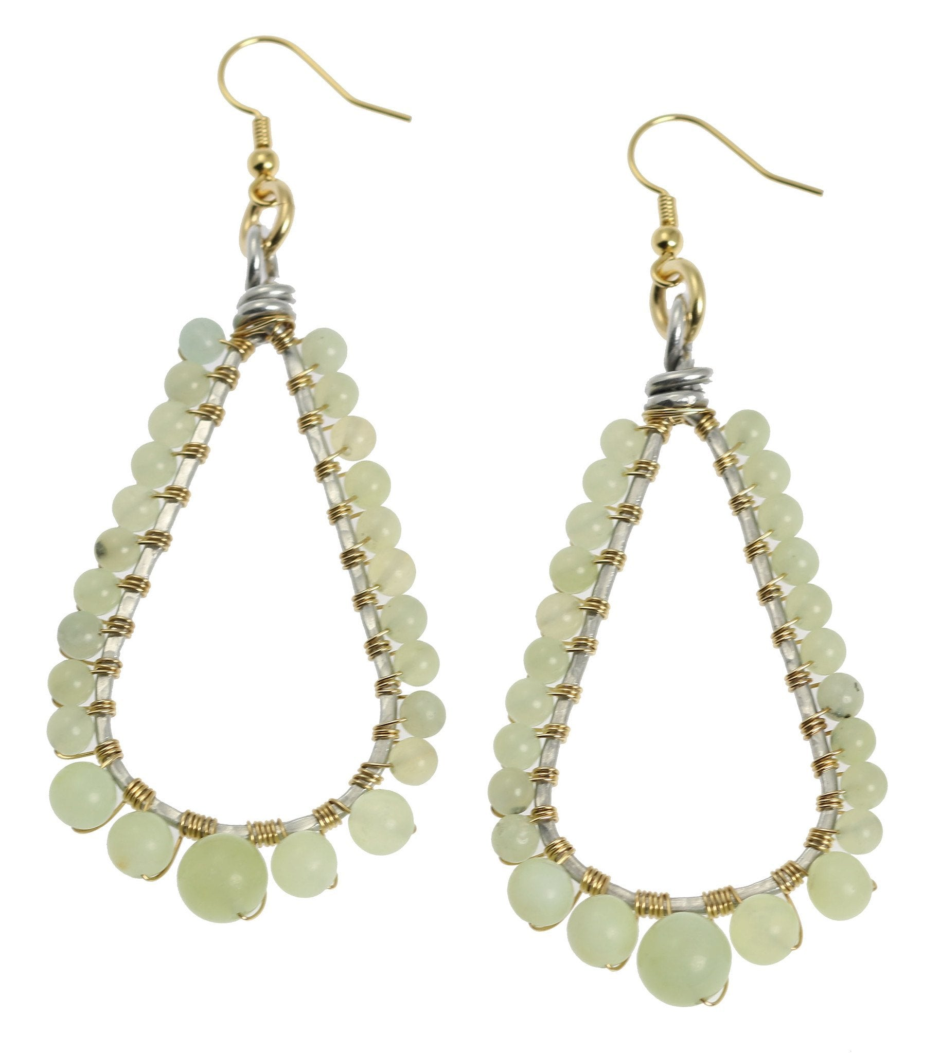 Hammered Aluminum Wire Wrapped Tear Drop Earrings With Amazonite   Johnsbrana  1