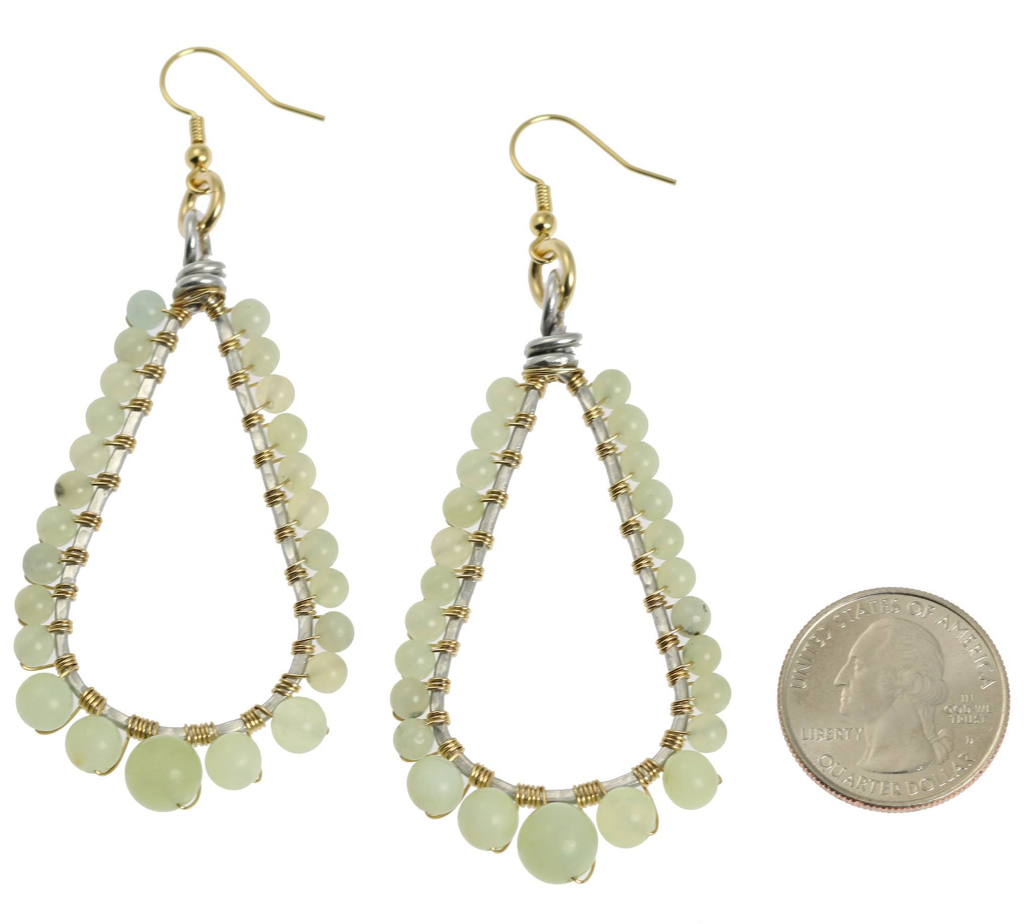 Hammered Aluminum Wire Wrapped Tear Drop Earrings with Amazonite ...
