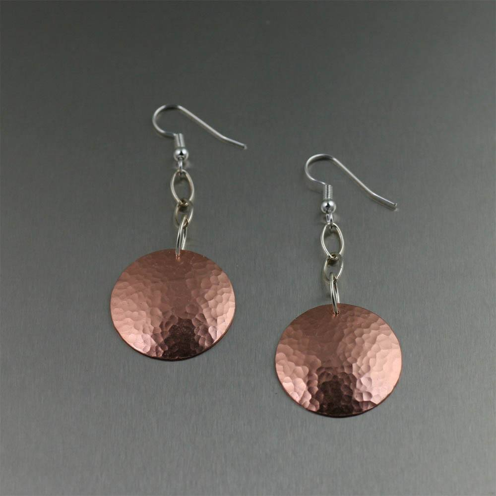 Hammered Copper Disc Drop Earrings - johnsbrana