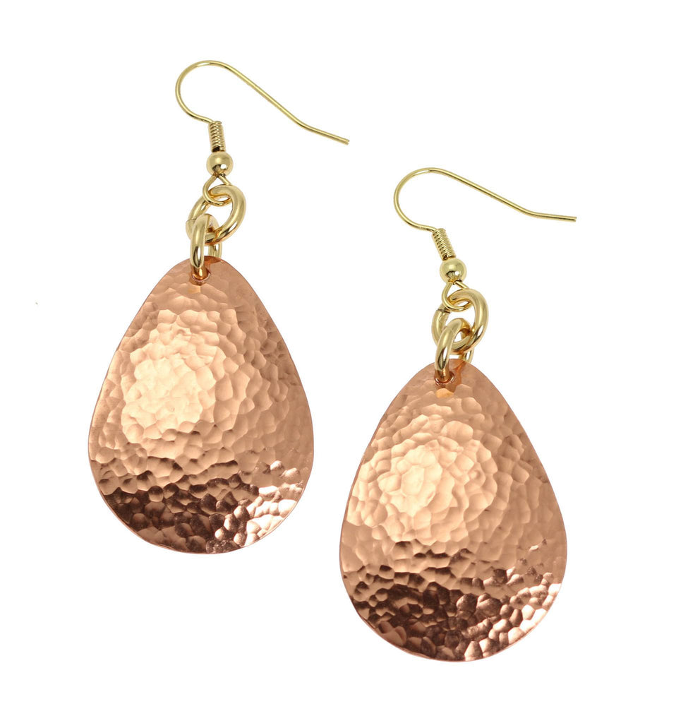 Hammered Copper Drop Earrings - Solid Copper Earrings - johnsbrana - 1