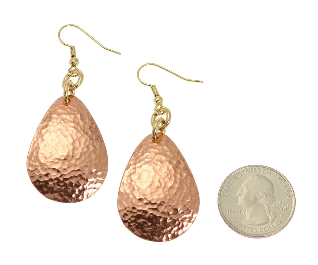 Hammered Copper Drop Earrings - Solid Copper Earrings - johnsbrana - 2