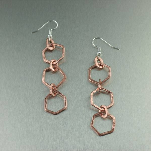 Hammered Copper Earrings - Three Rings - johnsbrana
