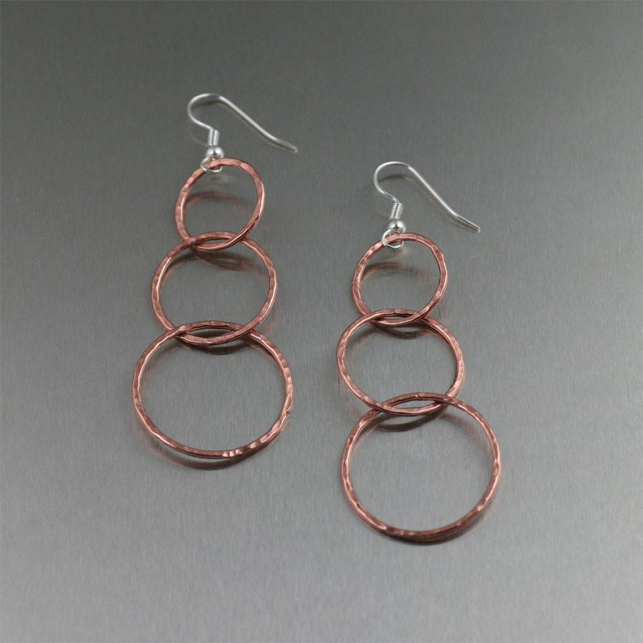 Hammered Copper Three Tiered Hoop Earrings - johnsbrana