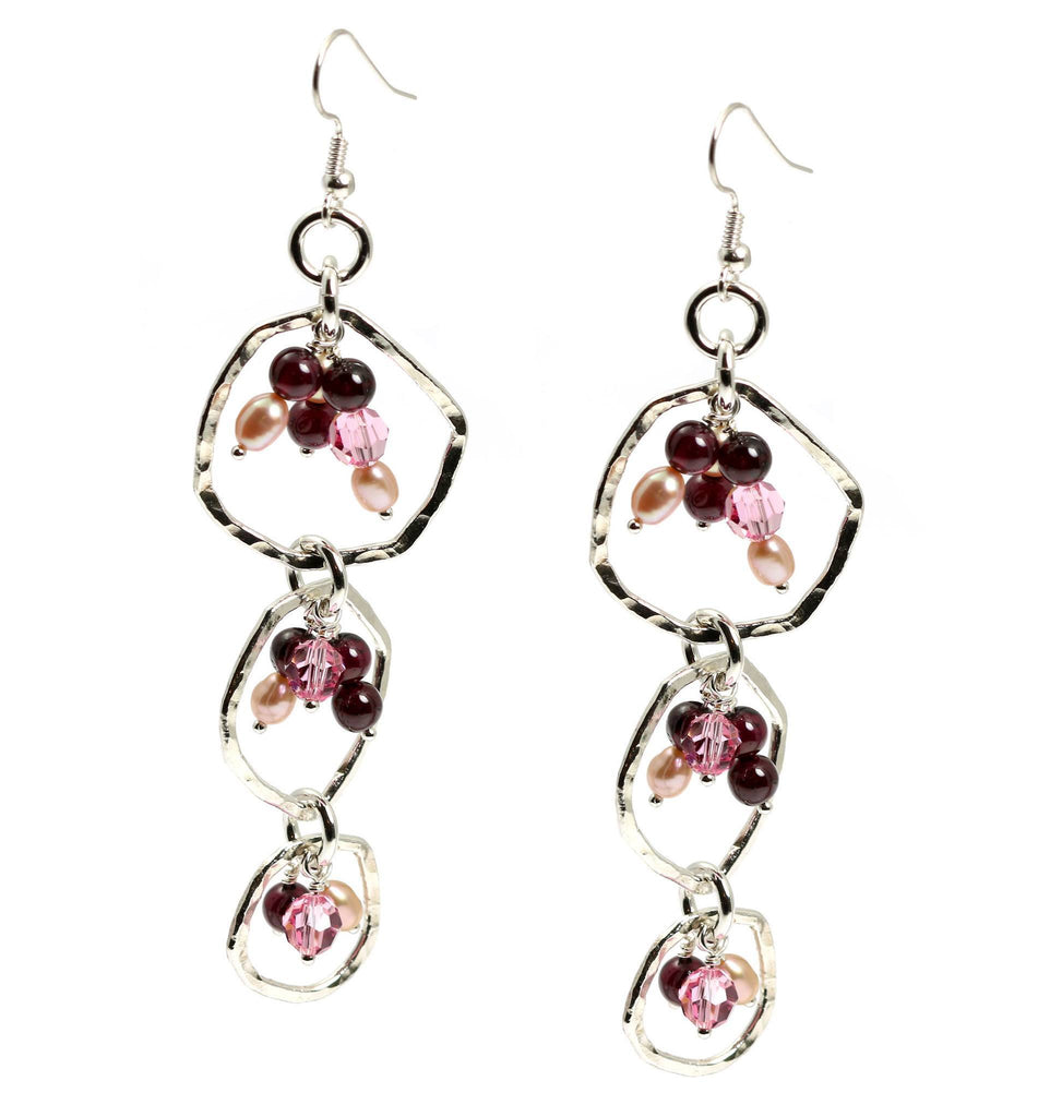 Hammered Fine Silver Earrings with Garnets - Freshwater Pearls - johnsbrana - 1