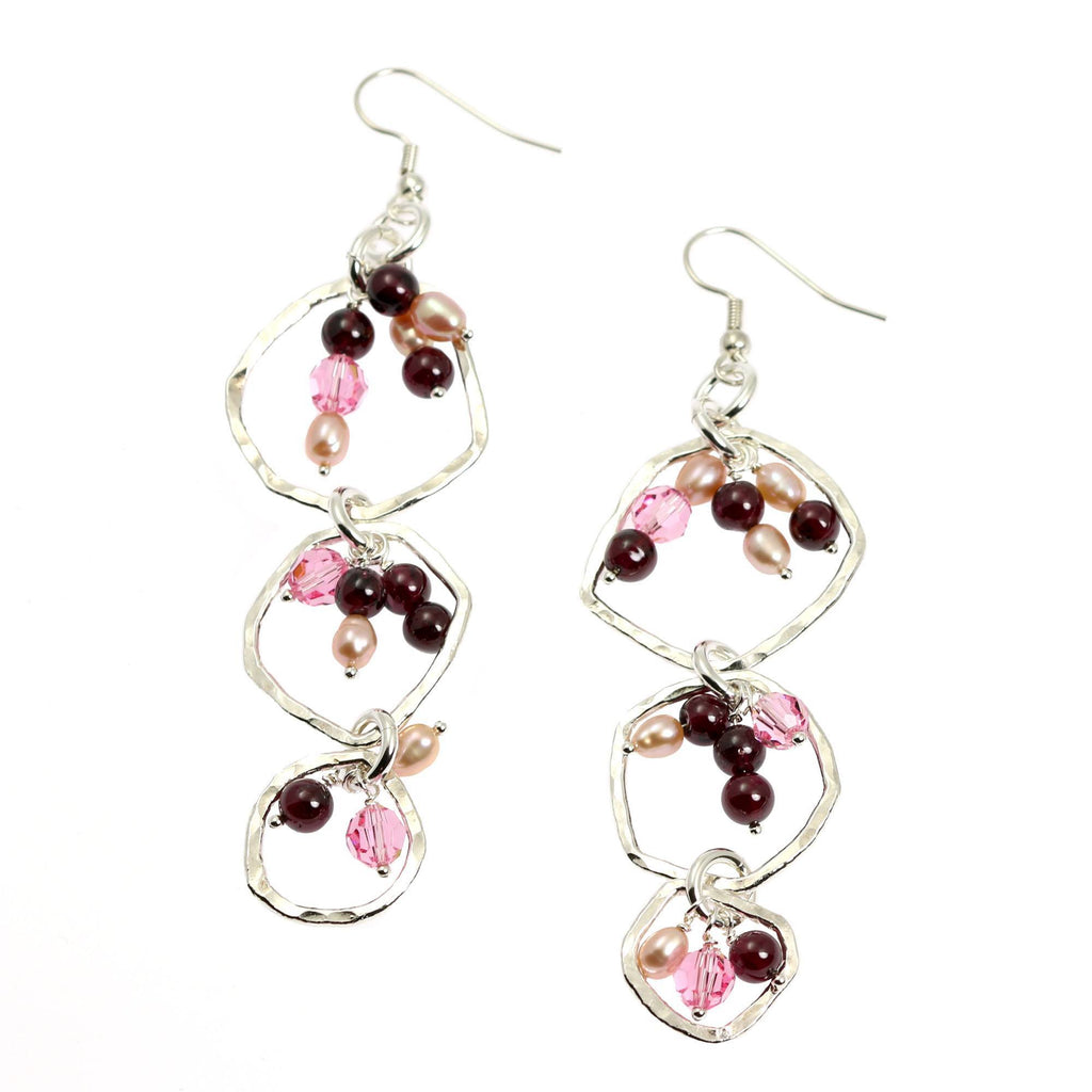 Hammered Fine Silver Earrings with Garnets - Freshwater Pearls - johnsbrana - 2