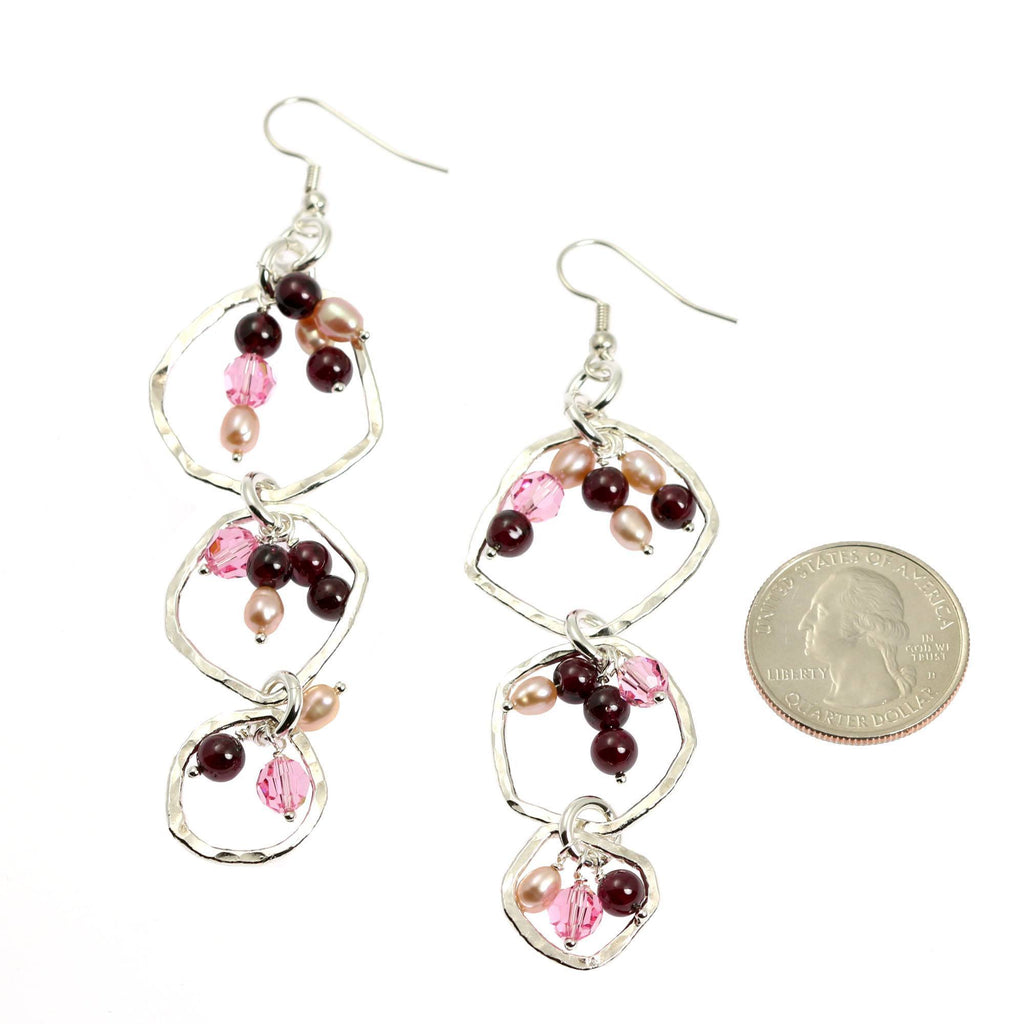 Hammered Fine Silver Earrings with Garnets - Freshwater Pearls - johnsbrana - 3
