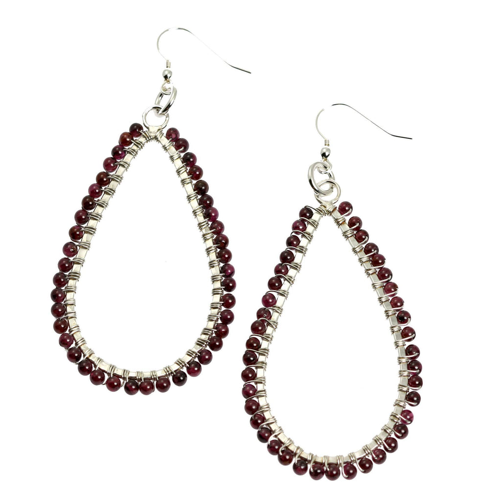 Hammered Fine Silver Garnet Tear Drop Earrings - johnsbrana - 1
