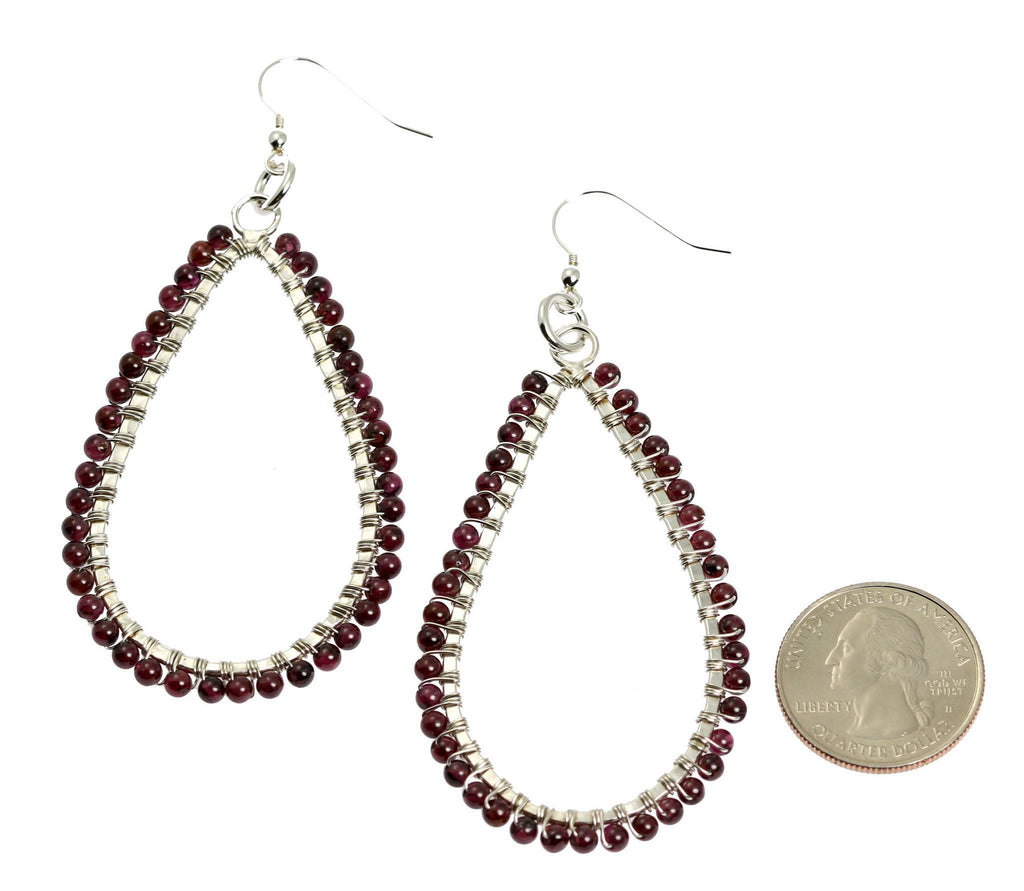 Hammered Fine Silver Garnet Tear Drop Earrings - johnsbrana - 2