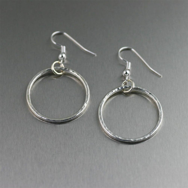 Earrings - Hammered Fine Silver Hoop Earrings