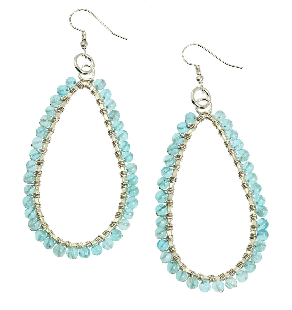 Hammered Fine Silver Tear Drop Earrings with Apatite Gemstones - johnsbrana - 1