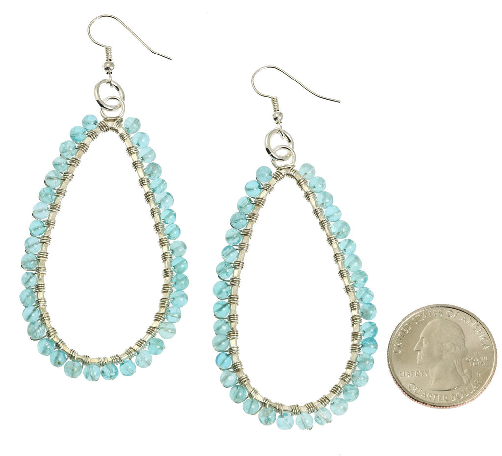 Hammered Fine Silver Tear Drop Earrings with Apatite Gemstones - johnsbrana - 2