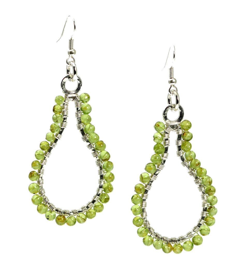 Hammered Fine Silver Wire Wrapped Drop Earrings with Peridot - johnsbrana - 1