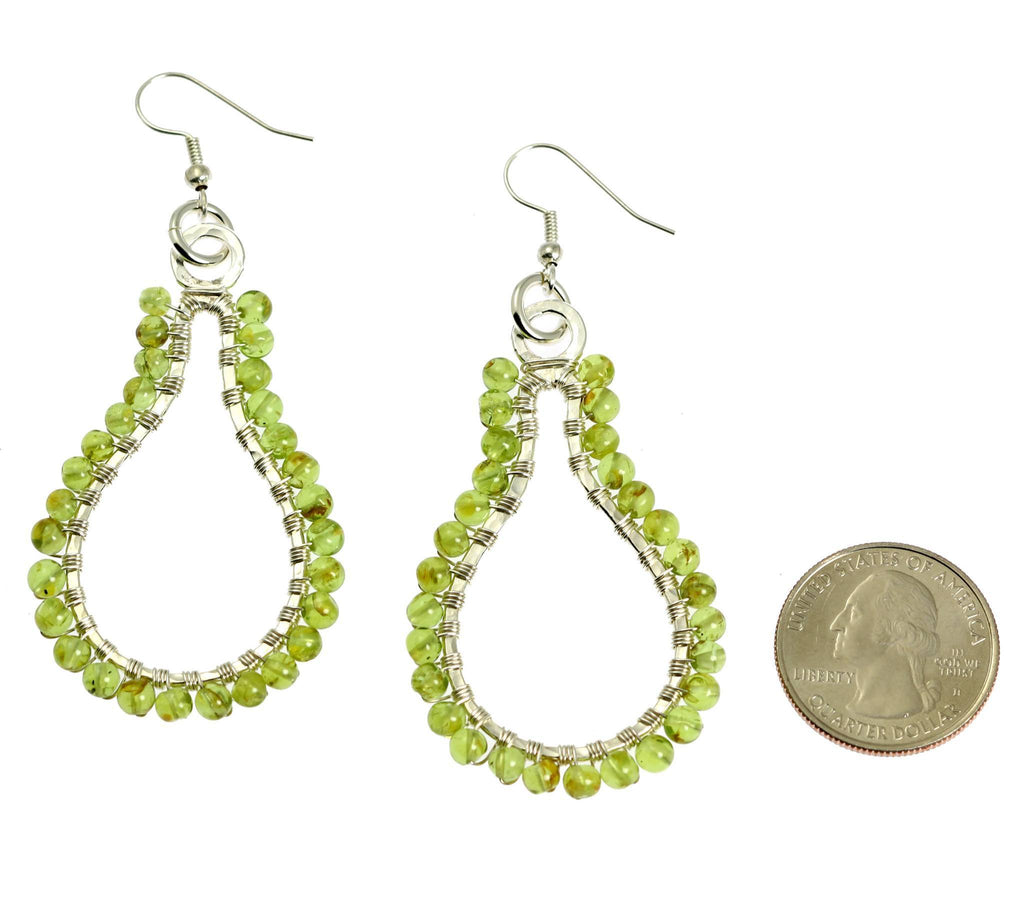 Hammered Fine Silver Wire Wrapped Drop Earrings with Peridot - johnsbrana - 2