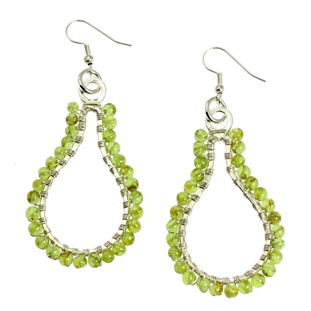 Hammered Fine Silver Wire Wrapped Drop Earrings with Peridot - johnsbrana - 3