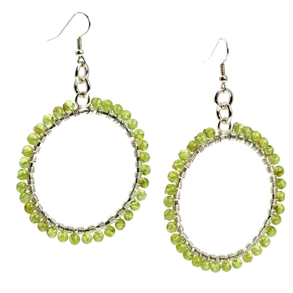 Hammered Fine Silver Wire Wrapped Hoop Earrings with Peridot - johnsbrana - 1