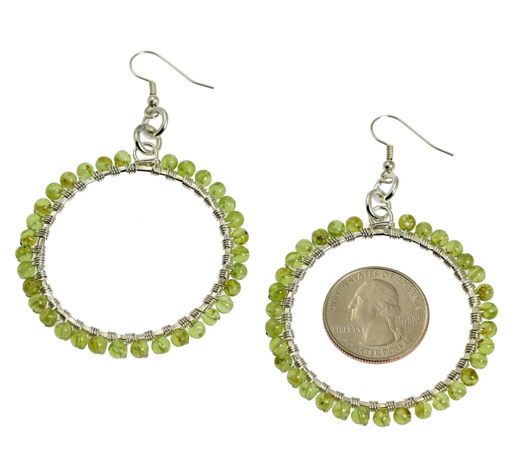Hammered Fine Silver Wire Wrapped Hoop Earrings with Peridot - johnsbrana - 2