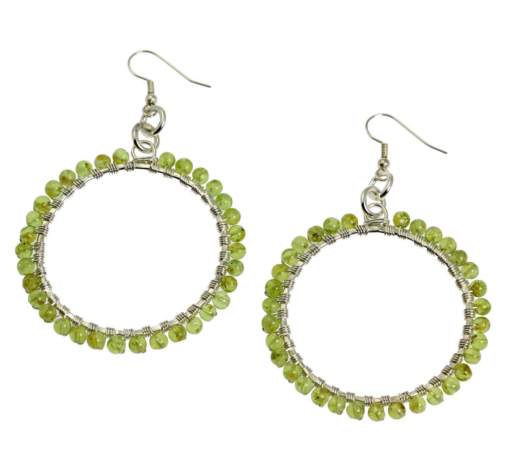 Hammered Fine Silver Wire Wrapped Hoop Earrings with Peridot - johnsbrana - 3