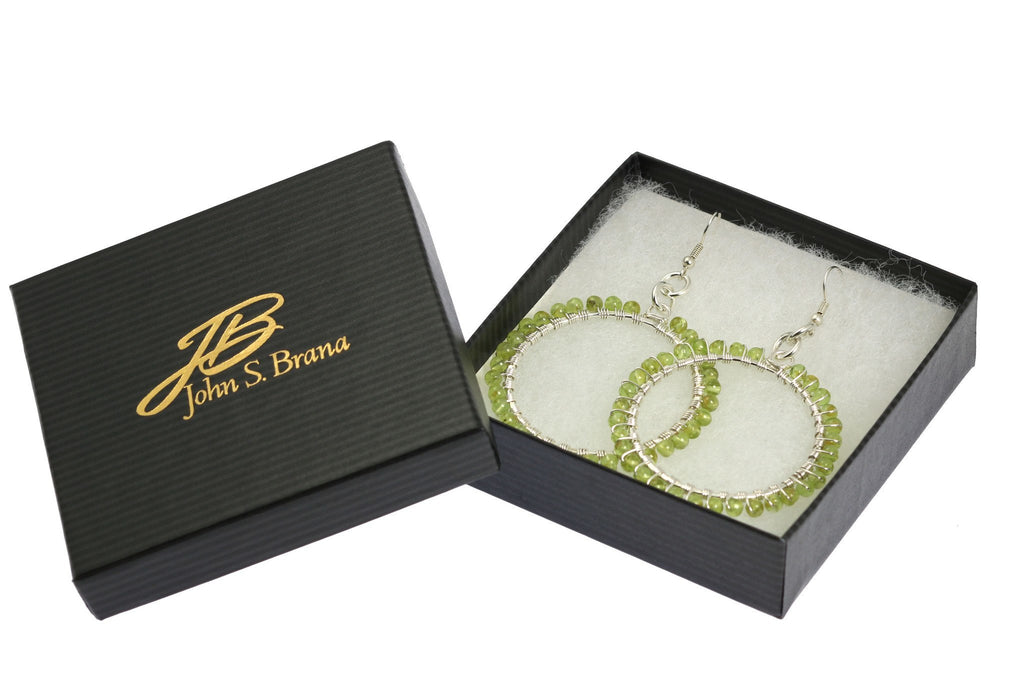 Hammered Fine Silver Wire Wrapped Hoop Earrings with Peridot - johnsbrana - 4