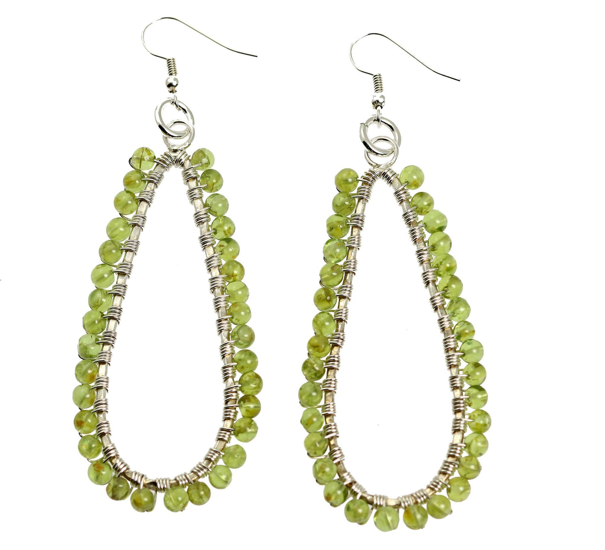 Hammered Fine Silver Wire Wrapped Tear Drop Peridot Earrings - John ...