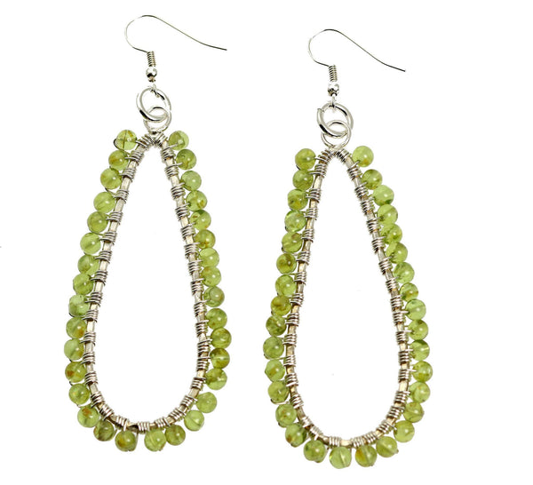 Hammered Fine Silver Wire Wrapped Tear Drop Peridot Earrings - johnsbrana - 1