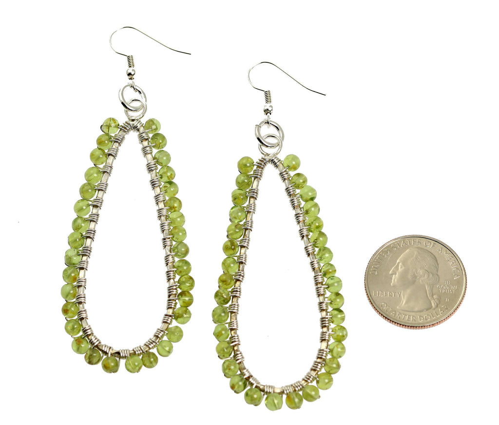 Hammered Fine Silver Wire Wrapped Tear Drop Peridot Earrings - johnsbrana - 2