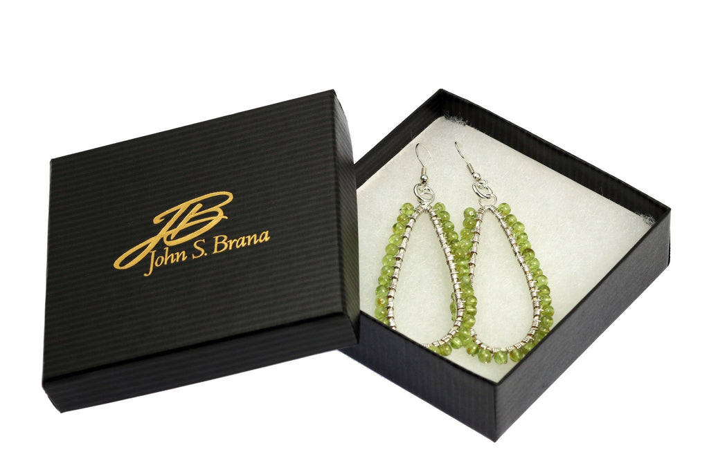 Hammered Fine Silver Wire Wrapped Tear Drop Peridot Earrings - johnsbrana - 4