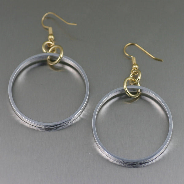 Hammered Hoop Aluminum Earrings - johnsbrana - 1