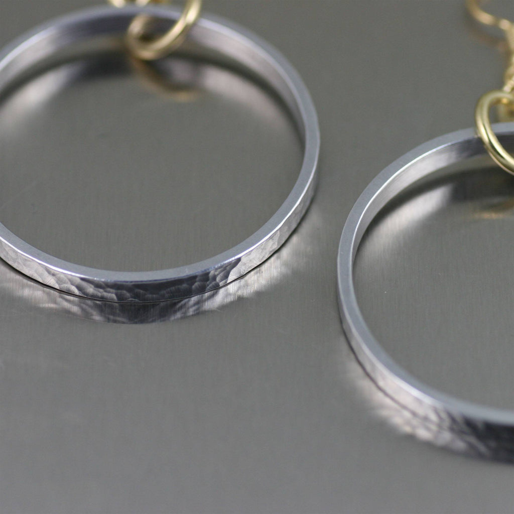Hammered Hoop Aluminum Earrings - johnsbrana - 2