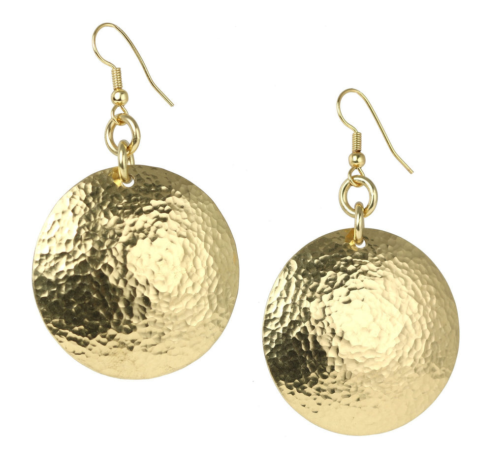 Hammered Nu Gold Brass Disc Earrings - johnsbrana - 1