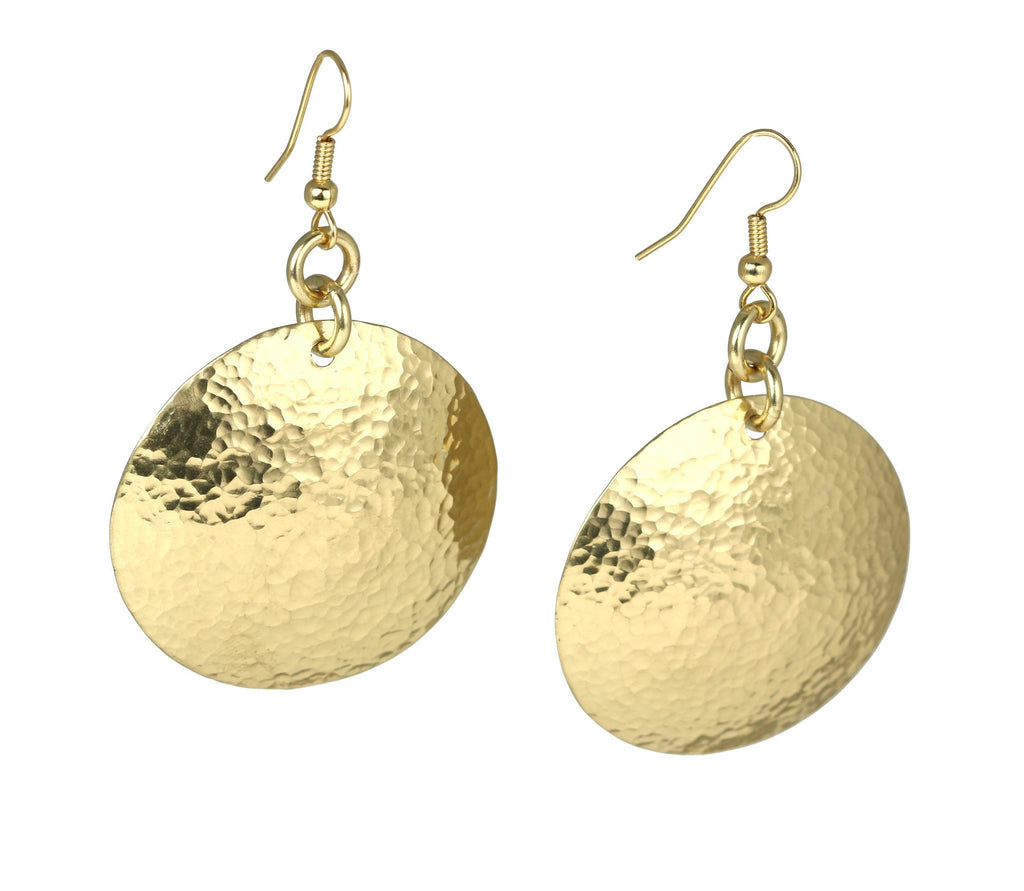 Hammered Nu Gold Brass Disc Earrings - johnsbrana - 2