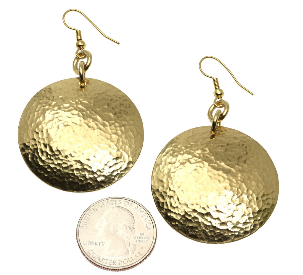 Hammered Nu Gold Brass Disc Earrings - johnsbrana - 3
