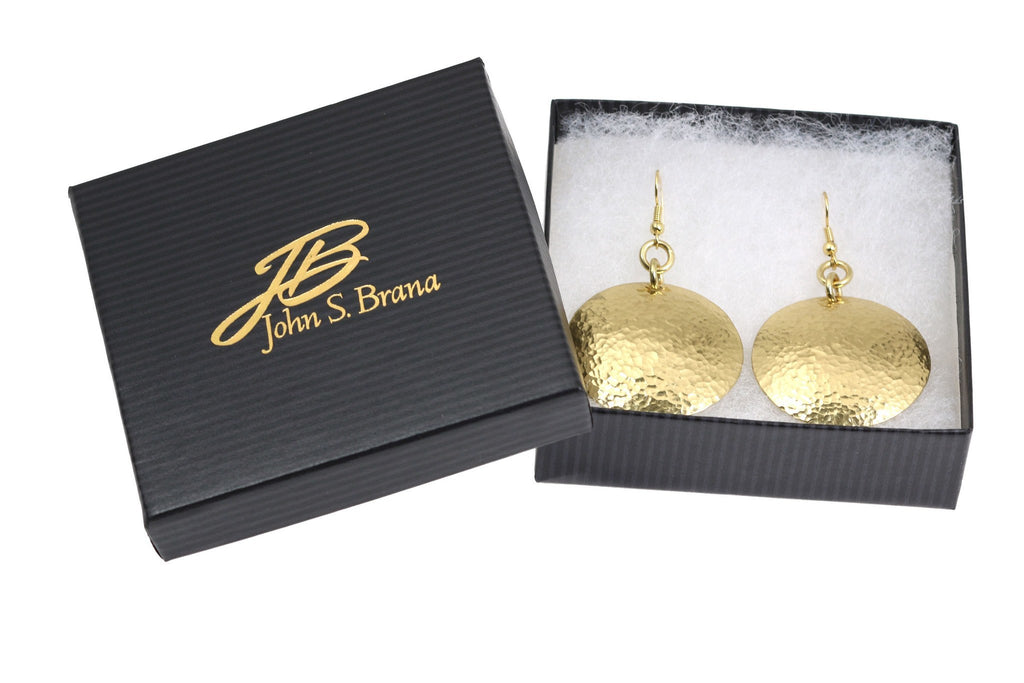 Earrings - Hammered Nu Gold Brass Disc Earrings