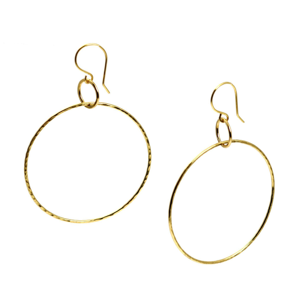 Hammered Nu Gold Brass Hoop Earrings - johnsbrana - 1