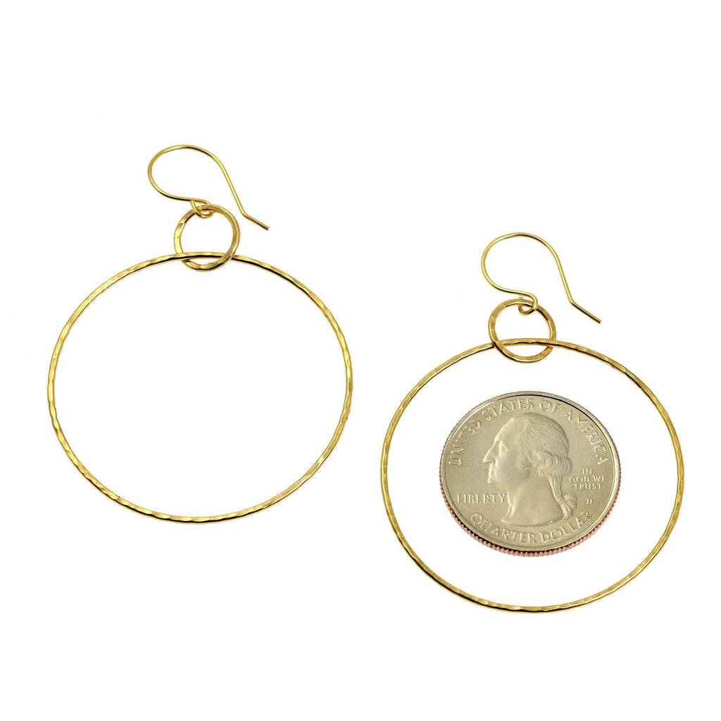 Hammered Nu Gold Brass Hoop Earrings - johnsbrana - 3