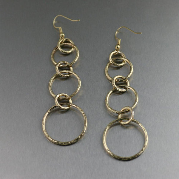 Hammered Nu Gold Brass Link Chandelier Earrings - johnsbrana