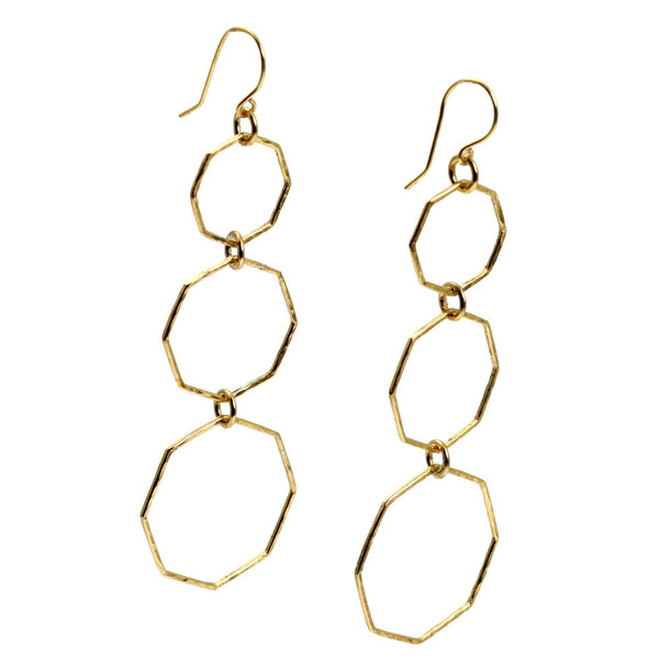 Hammered Nu Gold Brass Octagon Dangle Earrings - johnsbrana - 1