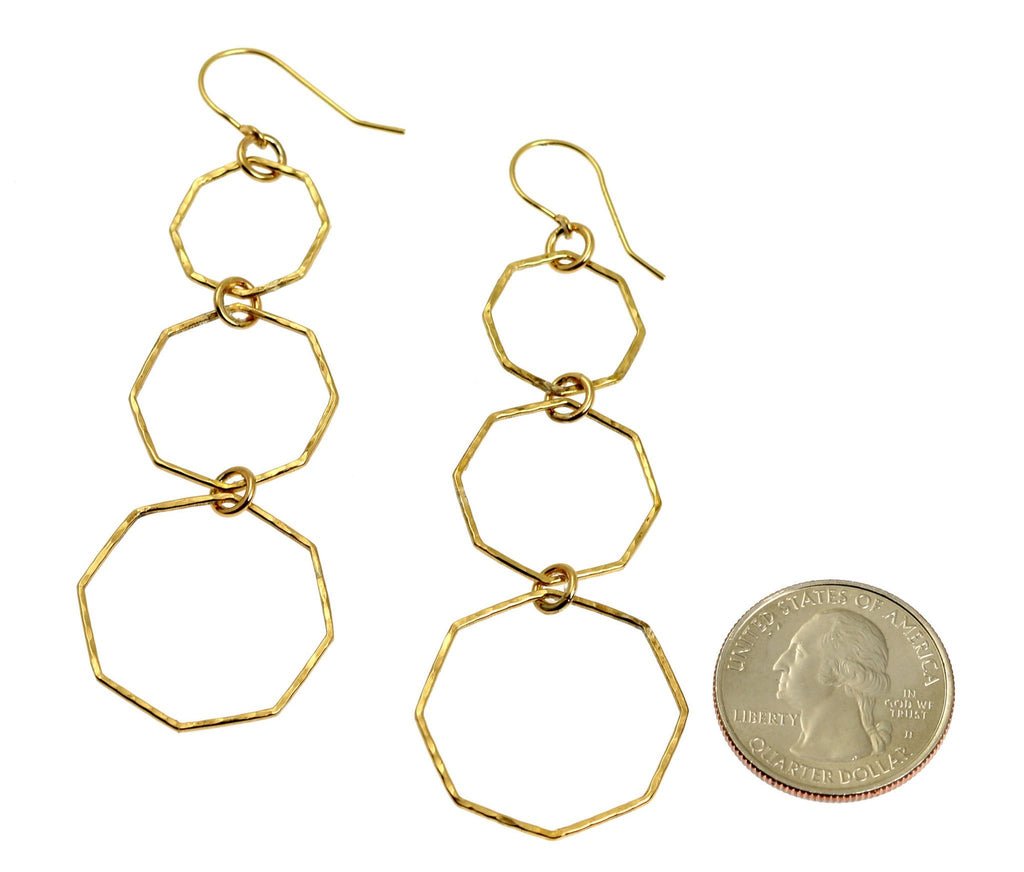 Hammered Nu Gold Brass Octagon Dangle Earrings - johnsbrana - 2