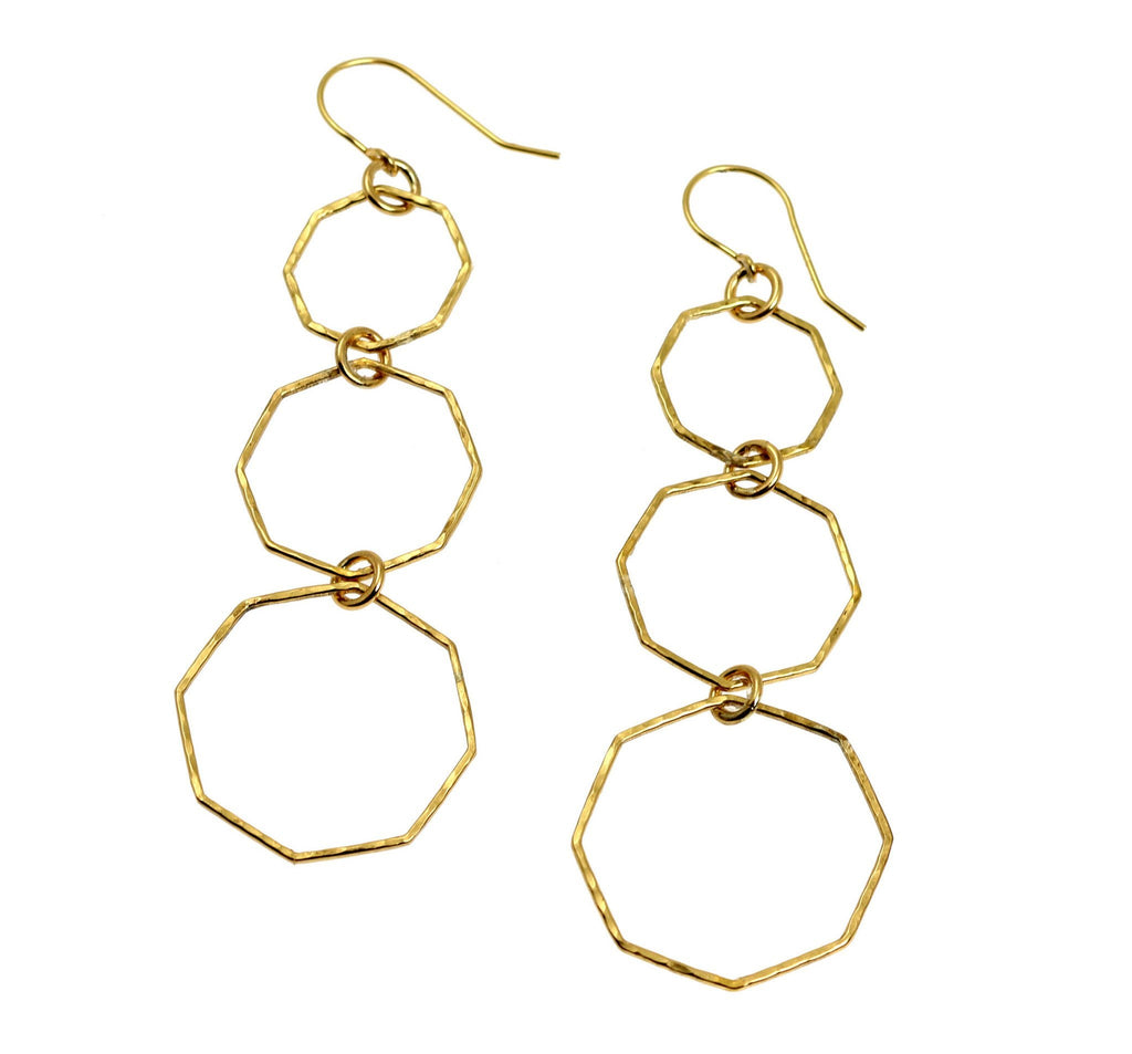 Hammered Nu Gold Brass Octagon Dangle Earrings - johnsbrana - 3