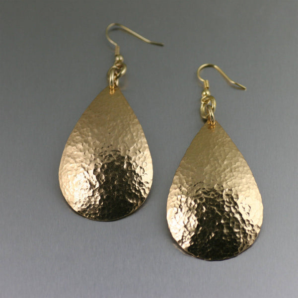 Hammered Nu Gold Brass Tear Drop Earrings - johnsbrana - 1