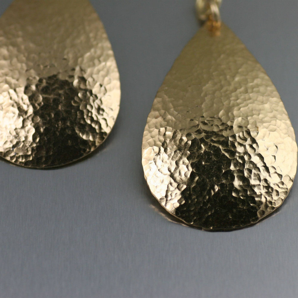 Hammered Nu Gold Brass Tear Drop Earrings - johnsbrana - 2
