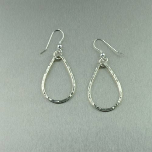 Hammered Tear Drop Fine Silver Earrings - johnsbrana