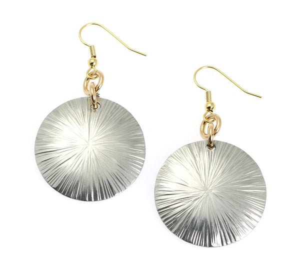 Large Aluminum Sand Dollar Disc Earrings - johnsbrana - 1