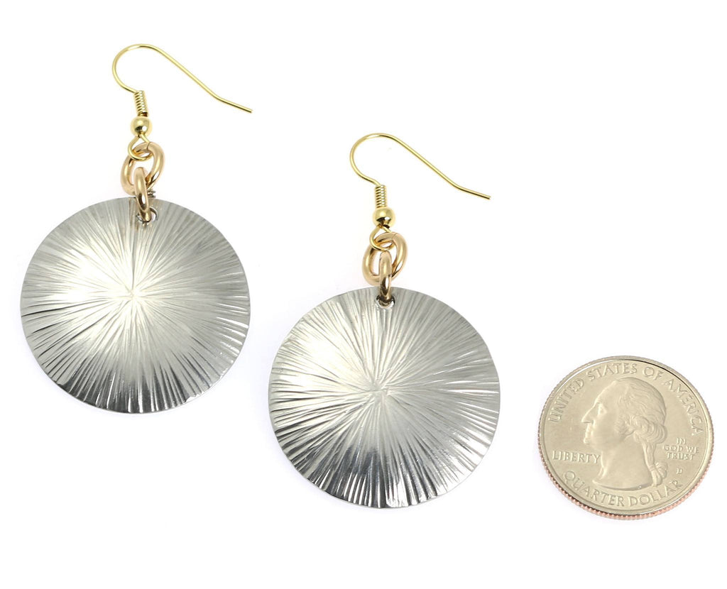 Large Aluminum Sand Dollar Disc Earrings - johnsbrana - 2