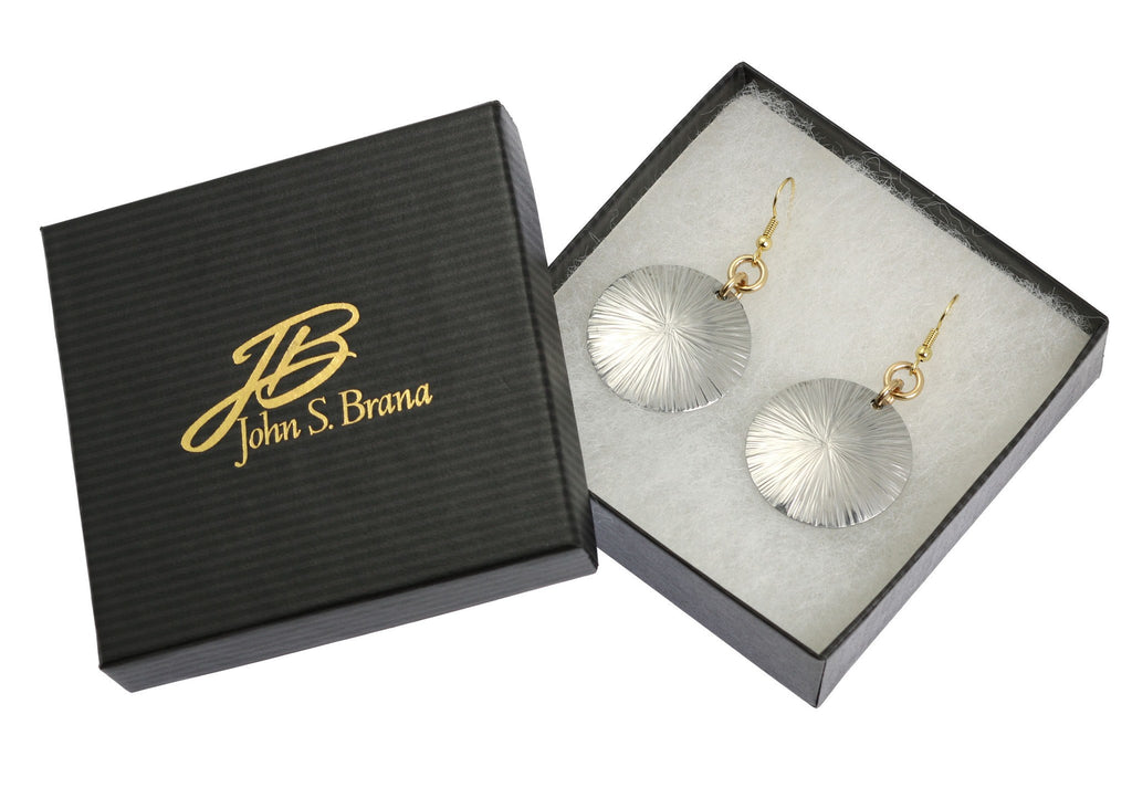 Large Aluminum Sand Dollar Disc Earrings - johnsbrana - 3