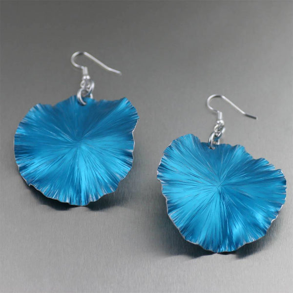 Earrings - Large Blue Anodized Aluminum Lily Pad Earrings