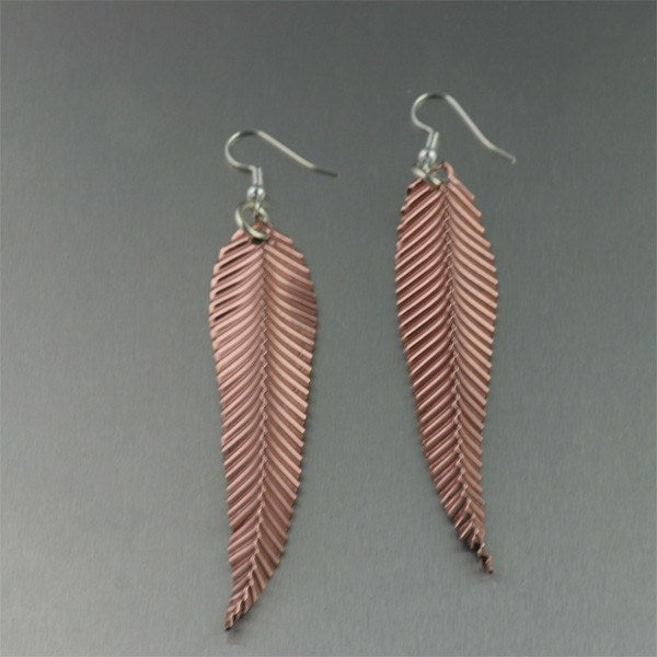 Large Corrugated Copper Leaf Earrings - johnsbrana