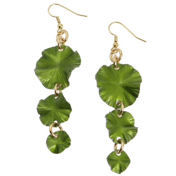 Lime Aluminum Lily Pad Earrings - Three-tiered - johnsbrana - 1