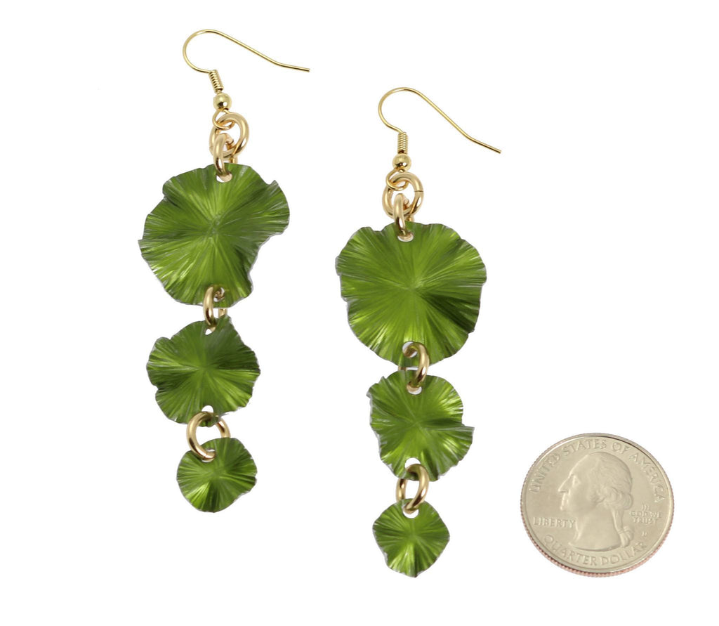 Lime Aluminum Lily Pad Earrings - Three-tiered - johnsbrana - 2