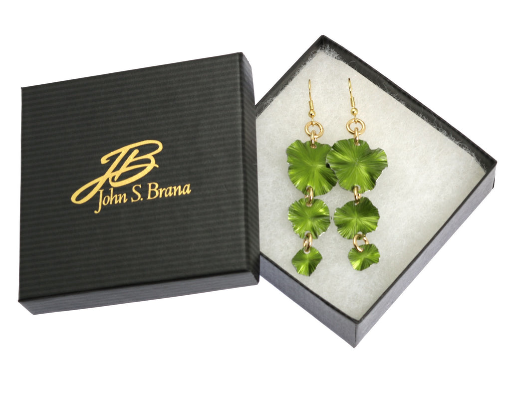 Lime Aluminum Lily Pad Earrings - Three-tiered - johnsbrana - 3
